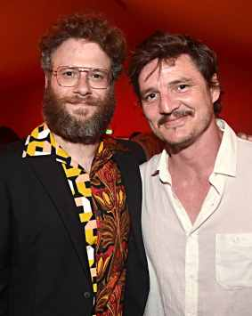 "HOLLYWOOD, CALIFORNIA - JULY 09: Seth Rogen and Pedro Pascal attend the World Premiere of Disney's ""THE LION KING"" at the Dolby Theatre on July 09, 2019 in Hollywood, California. (Photo by Alberto E. Rodriguez/Getty Images for Disney)"