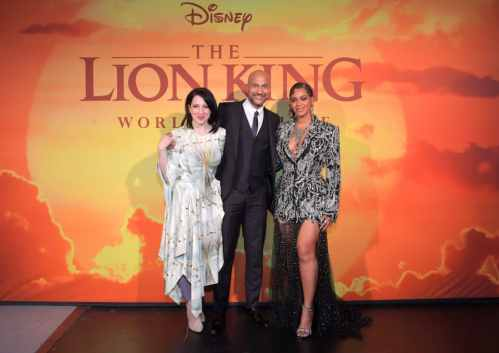 "HOLLYWOOD, CALIFORNIA - JULY 09: (L-R) Elisa Pugliese, Keegan-Michael Key, and Beyonce Knowles-Carter attend the World Premiere of Disney's ""THE LION KING"" at the Dolby Theatre on July 09, 2019 in Hollywood, California. (Photo by Charley Gallay/Getty Images for Disney)"