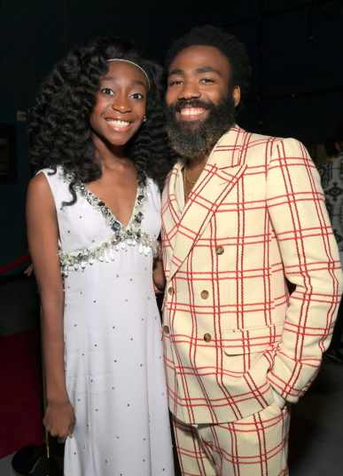 "HOLLYWOOD, CALIFORNIA - JULY 09: Shahadi Wright Joseph and Donald Glover attend the World Premiere of Disney's ""THE LION KING"" at the Dolby Theatre on July 09, 2019 in Hollywood, California. (Photo by Charley Gallay/Getty Images for Disney)"