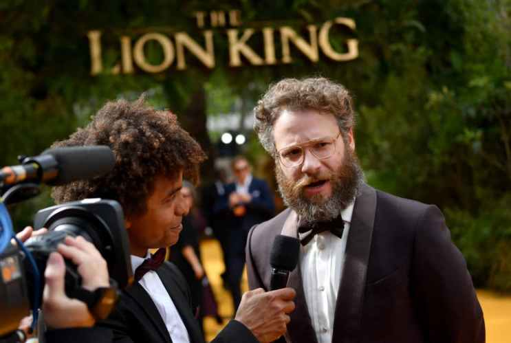 "LONDON, ENGLAND - JULY 14: Seth Rogen attends the European Premiere of Disney's ""The Lion King"" at Odeon Luxe Leicester Square on July 14, 2019 in London, England. (Photo by Gareth Cattermole/Getty Images for Disney)"