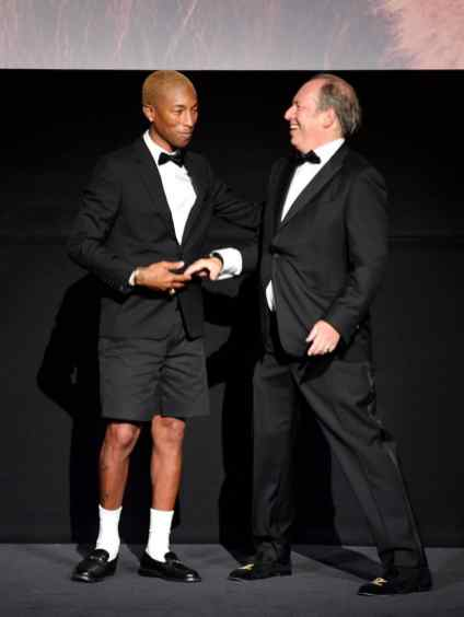 """LONDON, ENGLAND - JULY 14: Pharrell Williams and Hans Zimmer attend the European Premiere of Disney's """"The Lion King"""" at Odeon Luxe Leicester Square on July 14, 2019 in London, England. (Photo by Gareth Cattermole/Getty Images for Disney)"""
