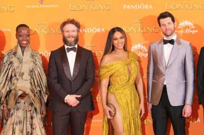 Florence Kasumba, Seth Rogen, Beyonce Knowles-Carter and Billy Eichner attend the European Premiere of DisneyÕs ÒThe Lion KingÓ at the Odeon Leicester Square on 14th July 2019 in London, UK