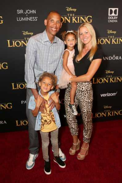 "HOLLYWOOD, CALIFORNIA - JULY 09: Reggie Miller (L) and guests attend the World Premiere of Disney's ""THE LION KING"" at the Dolby Theatre on July 09, 2019 in Hollywood, California. (Photo by Jesse Grant/Getty Images for Disney)"