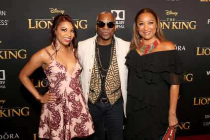 "HOLLYWOOD, CALIFORNIA - JULY 09: (L-R) Michaela Jean Burton, LeVar Burton, and Stephanie Cozart Burton attend the World Premiere of Disney's ""THE LION KING"" at the Dolby Theatre on July 09, 2019 in Hollywood, California. (Photo by Jesse Grant/Getty Images for Disney)"