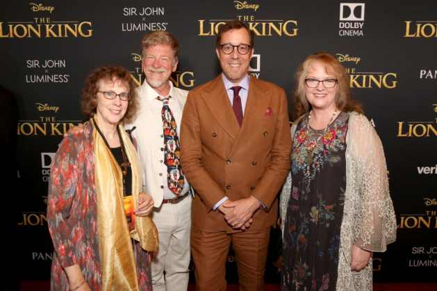 "HOLLYWOOD, CALIFORNIA - JULY 09: (L-R) Irene Mecchi, Roger Allers, Rob Minkoff, and Brenda Chapman attend the World Premiere of Disney's ""THE LION KING"" at the Dolby Theatre on July 09, 2019 in Hollywood, California. (Photo by Jesse Grant/Getty Images for Disney)"