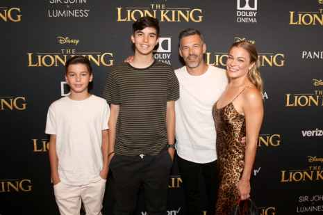 "HOLLYWOOD, CALIFORNIA - JULY 09: (L-R) Jake Austin Cibrian, Mason Edward Cibrian, Eddie Cibrian, and LeAnn Rimes attend the World Premiere of Disney's ""THE LION KING"" at the Dolby Theatre on July 09, 2019 in Hollywood, California. (Photo by Jesse Grant/Getty Images for Disney)"