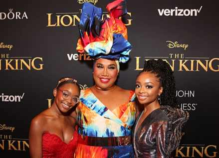 "HOLLYWOOD, CALIFORNIA - JULY 09: (L-R) Marsai Martin, Patrick Starrr and Skai Jackson attend the World Premiere of Disney's ""THE LION KING"" at the Dolby Theatre on July 09, 2019 in Hollywood, California. (Photo by Jesse Grant/Getty Images for Disney)"
