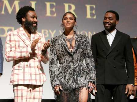 "HOLLYWOOD, CALIFORNIA - JULY 09: (L-R) Donald Glover, Beyonce Knowles-Carter, and Chiwetel Ejiofor attend the World Premiere of Disney's ""THE LION KING"" at the Dolby Theatre on July 09, 2019 in Hollywood, California. (Photo by Jesse Grant/Getty Images for Disney)"