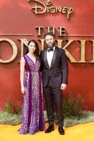 """Lauren Miller and Seth Rogen attend the European Premiere of Disney's """"The Lion King"""" at the Odeon Leicester Square on 14th July 2019 in London, UK"""