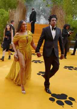 """LONDON, ENGLAND - JULY 14: Beyonce Knowles-Carter and Jay-Z attend the European Premiere of Disney's """"The Lion King"""" at Odeon Luxe Leicester Square on July 14, 2019 in London, England. (Photo by Gareth Cattermole/Getty Images for Disney)"""