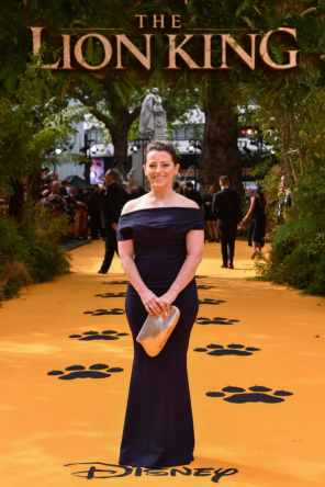 """Karen Gilchrist attends the European Premiere of Disney's """"The Lion King"""" at the Odeon Leicester Square on 14th July 2019 in London, UK"""