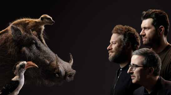 THE LION KING - (Top to Bottom) Timon and Billy Eichner, Pumbaa and Seth Rogen and Zazu and John Oliver. Photo by Kwaku Alston. © 2019 Disney Enterprises, Inc. All Rights Reserved.