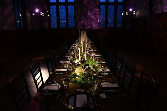 NEW YORK, NEW YORK - OCTOBER 16: A view of the dinner table during the Olivia von Halle x Disney Maleficent: Mistress of Evil event at The High Line Hotel on October 16, 2019 in New York City. (Photo by Craig Barritt/Getty Images for Disney)