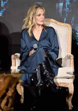 """BEVERLY HILLS, CALIFORNIA - SEPTEMBER 30: Actor Michelle Pfeiffer participates in the global press conference for """"Disney's Maleficent: Mistress of Evil"""" on September 30, 2019 in Beverly Hills, California. (Photo by Alberto E. Rodriguez/Getty Images for Disney)"""