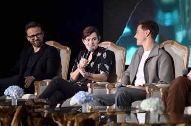 """BEVERLY HILLS, CALIFORNIA - SEPTEMBER 30: (L-R) Director Joachim Ronning, actors Sam Riley and Harris Dickinson participate in the global press conference for """"Disney's Maleficent: Mistress of Evil"""" on September 30, 2019 in Beverly Hills, California. (Photo by Alberto E. Rodriguez/Getty Images for Disney)"""