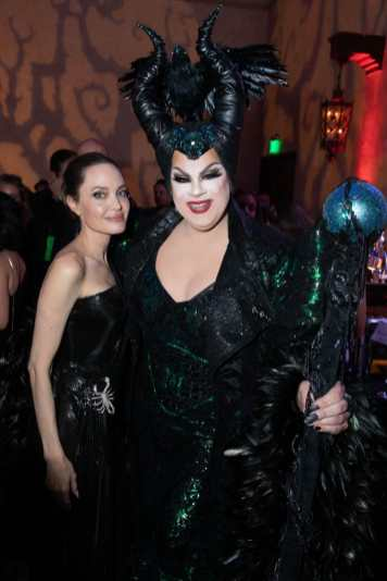 """Angelina Jolie and Nina West attend the World Premiere of Disney's """"Maleficent: Mistress of Evil"""" after party The Hollywood Roosevelt in Hollywood, CA on September 30, 2019 .(photo: Alex J. Berliner/ABImages)"""