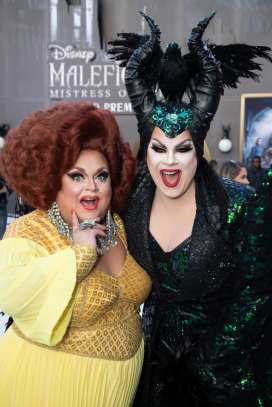 """Ginger Minj and Nina West attend the World Premiere of Disney's """"Maleficent: Mistress of Evil"""" at the El Capitan Theatre in Hollywood, CA on September 30, 2019 .(photo: Alex J. Berliner/ABImages)"""