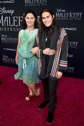 """HOLLYWOOD, CALIFORNIA - SEPTEMBER 30: (L-R) Sage Stewart and Booboo Stewart attend the World Premiere of Disney's """"Maleficent: Mistress of Evil"""" at the El Capitan Theatre on September 30, 2019 in Hollywood, California. (Photo by Alberto E. Rodriguez/Getty Images for Disney)"""