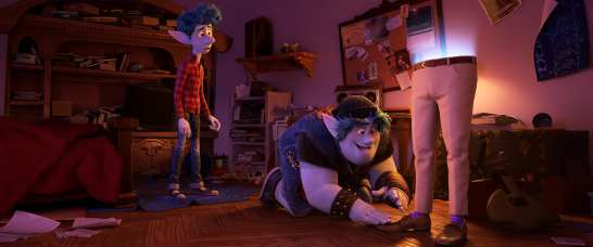 """PURPLE SOCKS -- In Disney and Pixar's """"Onward,"""" brothers Ian and Barley use a spell gifted to them on Ian's 16th birthday to magically conjure their dad—half of him, anyway—right down to his signature purple socks. Featuring the voices of Tom Holland and Chris Pratt as Ian and Barley, """"Onward"""" opens in U.S. theaters on March 6, 2020. © 2019 Disney/Pixar. All Rights Reserved."""