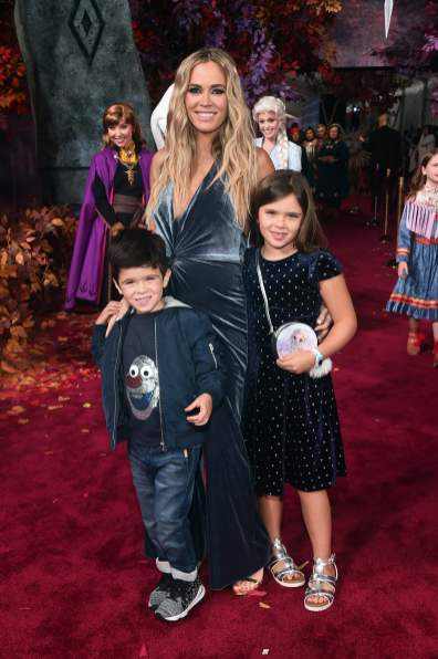 """HOLLYWOOD, CALIFORNIA - NOVEMBER 07: (L-R) Cruz Arroyave, Teddi Jo Mellencamp, and Slate Arroyave attend the world premiere of Disney's """"Frozen 2"""" at Hollywood's Dolby Theatre on Thursday, November 7, 2019 in Hollywood, California. (Photo by Alberto E. Rodriguez/Getty Images for Disney)"""