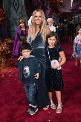 "HOLLYWOOD, CALIFORNIA - NOVEMBER 07: (L-R) Cruz Arroyave, Teddi Jo Mellencamp, and Slate Arroyave attend the world premiere of Disney's ""Frozen 2"" at Hollywood's Dolby Theatre on Thursday, November 7, 2019 in Hollywood, California. (Photo by Alberto E. Rodriguez/Getty Images for Disney)"