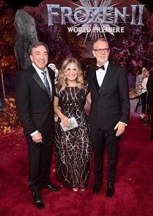 "HOLLYWOOD, CALIFORNIA - NOVEMBER 07: (L-R) Producer Peter Del Vecho, Director/writer/Walt Disney Animation Studios CCO Jennifer Lee, and Director Chris Buck attend the world premiere of Disney's ""Frozen 2"" at Hollywood's Dolby Theatre on Thursday, November 7, 2019 in Hollywood, California. (Photo by Alberto E. Rodriguez/Getty Images for Disney)"