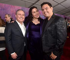 "HOLLYWOOD, CALIFORNIA - NOVEMBER 07: (L-R) Co-Chairman, The Walt Disney Studios Alan Bergman, Songwriters Kristen Anderson-Lopez and Robert Lopez attend the world premiere of Disney's ""Frozen 2"" at Hollywood's Dolby Theatre on Thursday, November 7, 2019 in Hollywood, California. (Photo by Alberto E. Rodriguez/Getty Images for Disney)"