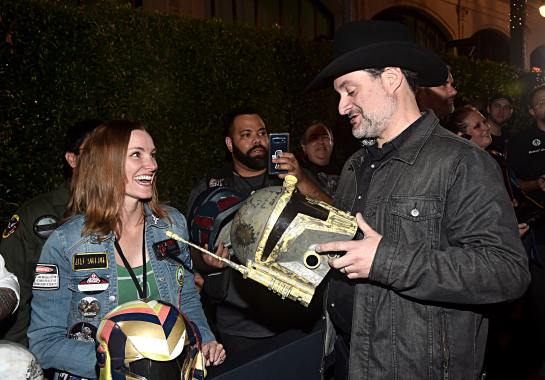 "HOLLYWOOD, CALIFORNIA - NOVEMBER 13: Executive producer/director Dave Filoni (R) arrives at the premiere of Lucasfilm's first-ever, live-action series, ""The Mandalorian,"" at the El Capitan Theatre in Hollywood, Calif. on November 13, 2019. ""The Mandalorian"" streams exclusively on Disney+. (Photo by Alberto E. Rodriguez/Getty Images for Disney)"