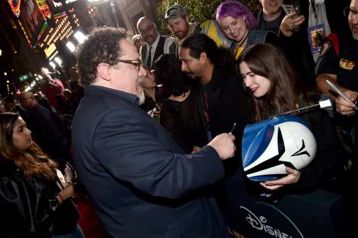 "HOLLYWOOD, CALIFORNIA - NOVEMBER 13: Executive Producer Jon Favreau arrives at the premiere of Lucasfilm's first-ever, live-action series, ""The Mandalorian,"" at the El Capitan Theatre in Hollywood, Calif. on November 13, 2019. ""The Mandalorian"" streams exclusively on Disney+. (Photo by Alberto E. Rodriguez/Getty Images for Disney)"