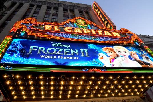 """HOLLYWOOD, CALIFORNIA - NOVEMBER 07: View of signage at the world premiere of Disney's """"Frozen 2"""" at Hollywood's Dolby Theatre on Thursday, November 7, 2019 in Hollywood, California. (Photo by Charley Gallay/Getty Images for Disney)"""