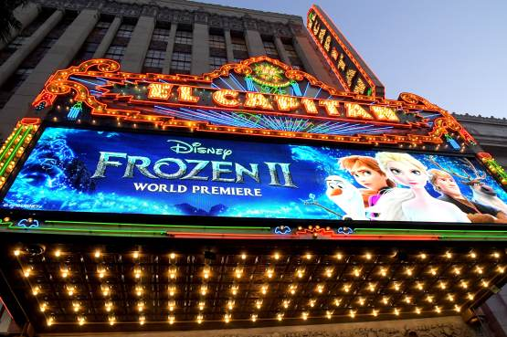 "HOLLYWOOD, CALIFORNIA - NOVEMBER 07: View of signage at the world premiere of Disney's ""Frozen 2"" at Hollywood's Dolby Theatre on Thursday, November 7, 2019 in Hollywood, California. (Photo by Charley Gallay/Getty Images for Disney)"