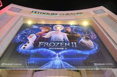 "HOLLYWOOD, CALIFORNIA - NOVEMBER 07: A view of the signage at the world premiere of Disney's ""Frozen 2"" at Hollywood's Dolby Theatre on Thursday, November 7, 2019 in Hollywood, California. (Photo by Charley Gallay/Getty Images for Disney)"