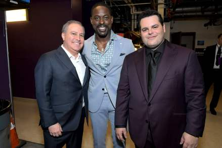"HOLLYWOOD, CALIFORNIA - NOVEMBER 07: (L-R) Co-Chairman, The Walt Disney Studios Alan Bergman, Actors Sterling K. Brown, and Josh Gad attend the world premiere of Disney's ""Frozen 2"" at Hollywood's Dolby Theatre on Thursday, November 7, 2019 in Hollywood, California. (Photo by Charley Gallay/Getty Images for Disney)"