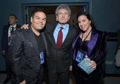 "HOLLYWOOD, CALIFORNIA - NOVEMBER 07: (L-R) Robert Lopez, Co-Chairman and Chief Creative Officer of The Walt Disney Studios Alan Horn, and Kristen Anderson-Lopez attend the world premiere of Disney's ""Frozen 2"" at Hollywood's Dolby Theatre on Thursday, November 7, 2019 in Hollywood, California. (Photo by Charley Gallay/Getty Images for Disney)"