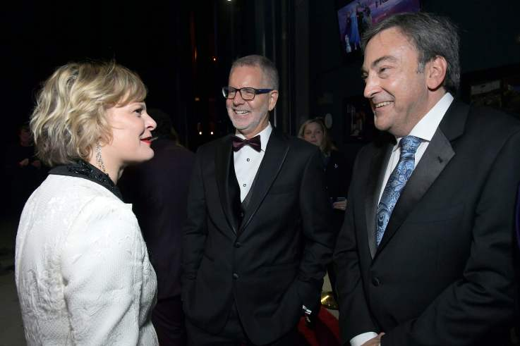 "HOLLYWOOD, CALIFORNIA - NOVEMBER 07: (L-R) Actress Martha Plimpton, Director Chris Buck, and Producer Peter Del Vecho attend the world premiere of Disney's ""Frozen 2"" at Hollywood's Dolby Theatre on Thursday, November 7, 2019 in Hollywood, California. (Photo by Charley Gallay/Getty Images for Disney)"