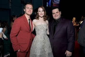 "HOLLYWOOD, CALIFORNIA - NOVEMBER 07: (L-R) Actor Jonathan Groff, Actress Evan Rachel Wood, and Actor Josh Gad attend the world premiere of Disney's ""Frozen 2"" at Hollywood's Dolby Theatre on Thursday, November 7, 2019 in Hollywood, California. (Photo by Charley Gallay/Getty Images for Disney)"
