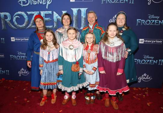 """HOLLYWOOD, CALIFORNIA - NOVEMBER 07: Per Olof Nutti (3nd from R) and guests attend the world premiere of Disney's """"Frozen 2"""" at Hollywood's Dolby Theatre on Thursday, November 7, 2019 in Hollywood, California. (Photo by Jesse Grant/Getty Images for Disney)"""