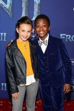 "HOLLYWOOD, CALIFORNIA - NOVEMBER 07: (L-R) Kaylin Hayman and Ramon Reed attend the world premiere of Disney's ""Frozen 2"" at Hollywood's Dolby Theatre on Thursday, November 7, 2019 in Hollywood, California. (Photo by Jesse Grant/Getty Images for Disney)"