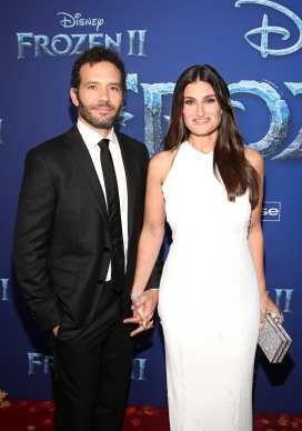 """HOLLYWOOD, CALIFORNIA - NOVEMBER 07: Aaron Lohr and Actor Idina Menzel attend the world premiere of Disney's """"Frozen 2"""" at Hollywood's Dolby Theatre on Thursday, November 7, 2019 in Hollywood, California. (Photo by Jesse Grant/Getty Images for Disney)"""