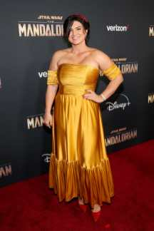 "HOLLYWOOD, CALIFORNIA - NOVEMBER 13: Gina Carano arrives at the premiere of Lucasfilm's first-ever, live-action series, ""The Mandalorian,"" at the El Capitan Theatre in Hollywood, Calif. on November 13, 2019. ""The Mandalorian"" streams exclusively on Disney+. (Photo by Jesse Grant/Getty Images for Disney)"