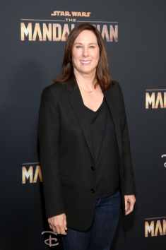 "HOLLYWOOD, CALIFORNIA - NOVEMBER 13: Executive Producer Kathleen Kennedy arrives at the premiere of Lucasfilm's first-ever, live-action series, ""The Mandalorian,"" at the El Capitan Theatre in Hollywood, Calif. on November 13, 2019. ""The Mandalorian"" streams exclusively on Disney+. (Photo by Jesse Grant/Getty Images for Disney)"