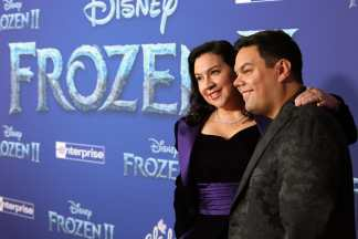 "HOLLYWOOD, CALIFORNIA - NOVEMBER 07: Songwriters Kristen Anderson-Lopez and Robert Lopez attend the world premiere of Disney's ""Frozen 2"" at Hollywood's Dolby Theatre on Thursday, November 7, 2019 in Hollywood, California. (Photo by Jesse Grant/Getty Images for Disney)"