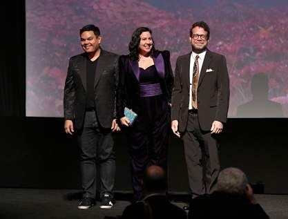 "HOLLYWOOD, CALIFORNIA - NOVEMBER 07: (L-R) Songwriters Robert Lopez, Kristen Anderson-Lopez, and Composer Christophe Beck attend the world premiere of Disney's ""Frozen 2"" at Hollywood's Dolby Theatre on Thursday, November 7, 2019 in Hollywood, California. (Photo by Jesse Grant/Getty Images for Disney)"
