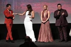 """HOLLYWOOD, CALIFORNIA - NOVEMBER 07: (L-R) Actor Jonathan Groff, Actresses Idina Menzel and Kristen Bell, and Actor Josh Gad attend the world premiere of Disney's """"Frozen 2"""" at Hollywood's Dolby Theatre on Thursday, November 7, 2019 in Hollywood, California. (Photo by Jesse Grant/Getty Images for Disney)"""
