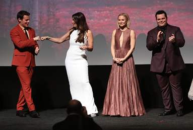 "HOLLYWOOD, CALIFORNIA - NOVEMBER 07: (L-R) Actor Jonathan Groff, Actresses Idina Menzel and Kristen Bell, and Actor Josh Gad attend the world premiere of Disney's ""Frozen 2"" at Hollywood's Dolby Theatre on Thursday, November 7, 2019 in Hollywood, California. (Photo by Jesse Grant/Getty Images for Disney)"