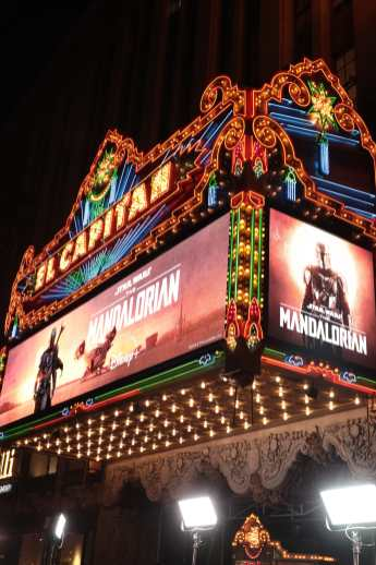 "A view of the marquee at the premiere of Lucasfilm's first-ever, live-action series, ""The Mandalorian"", at the El Capitan Theatre in Hollywood, CA on November 13, 2019. ""The Mandalorian"" streams exclusively on Disney+.(photo: Alex J. Berliner/ABImages)"