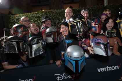 "Fans arrive at the premiere of Lucasfilm's first-ever, live-action series, ""The Mandalorian"", at the El Capitan Theatre in Hollywood, CA on November 13, 2019. ""The Mandalorian"" streams exclusively on Disney+.(photo: Alex J. Berliner/ABImages)"