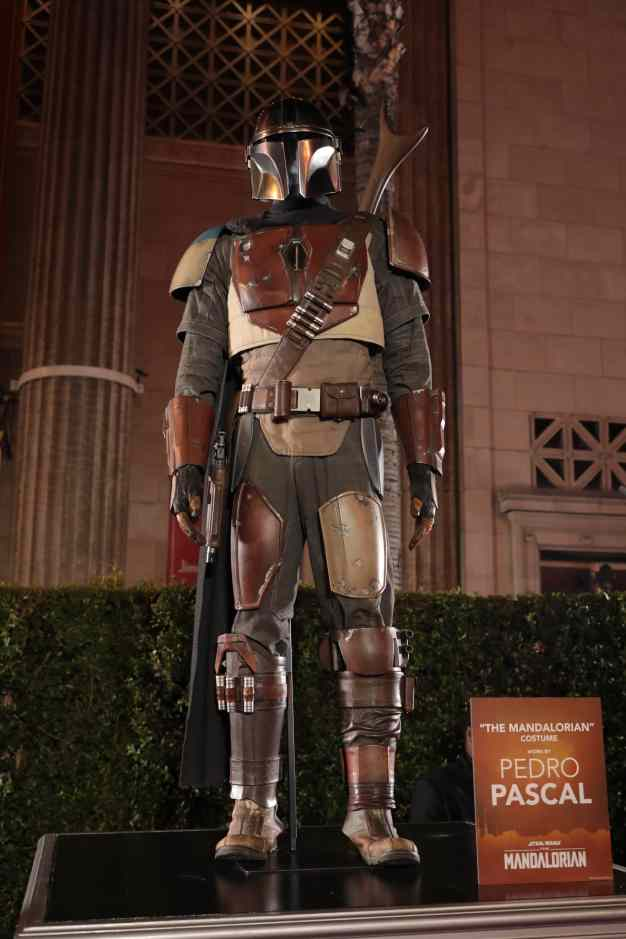 "A view of The Mandalorian costume at the premiere of Lucasfilm's first-ever, live-action series, ""The Mandalorian"", at the El Capitan Theatre in Hollywood, CA on November 13, 2019. ""The Mandalorian"" streams exclusively on Disney+.(photo: Alex J. Berliner/ABImages)"