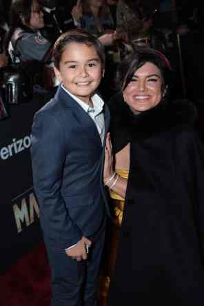 "Aidan Bertola and Gina Carano arrive at the premiere of Lucasfilm's first-ever, live-action series, ""The Mandalorian"", at the El Capitan Theatre in Hollywood, CA on November 13, 2019. ""The Mandalorian"" streams exclusively on Disney+.(photo: Alex J. Berliner/ABImages)"