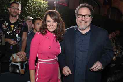 "Emily Swallow and Jon Favreau arrive at the premiere of Lucasfilm's first-ever, live-action series, ""The Mandalorian"", at the El Capitan Theatre in Hollywood, CA on November 13, 2019. ""The Mandalorian"" streams exclusively on Disney+.(photo: Alex J. Berliner/ABImages)"